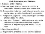 Ch 9: Campaigns and Elections I. Elections and Democracy