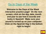 Go to Days of the Week