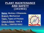 PLANT MAINTENANCE AND SAFETY (341903)