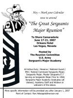 "Hey – Mark your Calendar now to attend ""The Great Sergeants Major Reunion"""