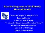 Exercise Programs In The Elderly : Risks and Benefits