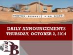 DAILY ANNOUNCEMENTS thursday , october 2, 2014
