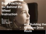 Best Practice for Behind the Wheel Instruction