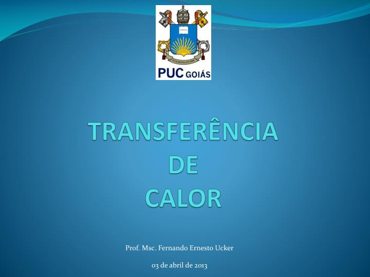 transfer ncia de calor n.