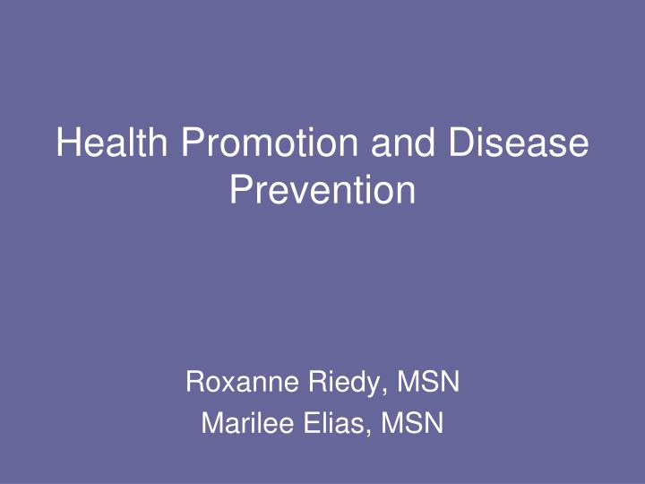 health promotion and disease prevention n.