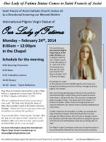Our Lady of Fatima Statue Comes to Saint Francis of Assisi