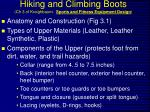 Hiking and Climbing Boots (Ch 3 of Kreighbaum. Sports and Fitness Equipment Design )