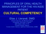PRINCIPLES OF ORAL HEALTH MANAGEMENT FOR THE HIV/AIDS PATIENT CULTURAL COMPETENCY