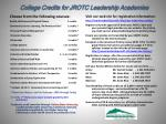College Credits for  JROTC Leadership Academies