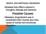 Mental and Emotional Disorders