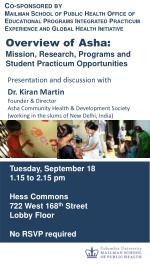 Overview of  Asha :   Mission, Research, Programs and Student Practicum Opportunities