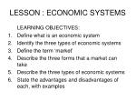 LESSON : ECONOMIC SYSTEMS