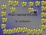 What I learned this year