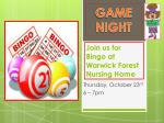 Join us for Bingo at Warwick Forest Nursing Home