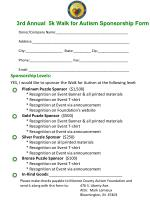 3rd  Annual  5k Walk for Autism Sponsorship Form