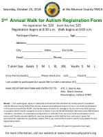 3 nd Annual Walk for Autism Registration Form