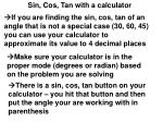 Sin, Cos, Tan with a calculator